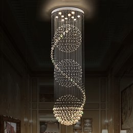 hanging ship ceiling 2019 - Modern LED Crystal Chandeliers Ceiling Lights Hanging Light Lamp Long Stair Indoor Deco Lighting for Dinning Room Hotel