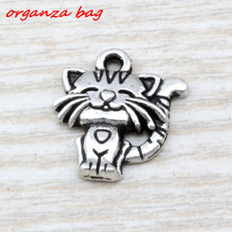 wholesale charms NZ - MIC 150pcs Ancient silver zinc alloy Single-sided cute cat Charm Pendants 18x 19mm DIY Jewelry A-110
