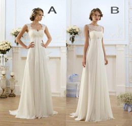 Line bateau chiffon Lace online shopping - 2017 New Empire Bohemian Wedding Dresses Cheap Maternity Gown Cap Sleeve Keyhole Lace Up Backless Chiffon Summer Beach Pregnant Bridal Gowns
