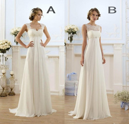 2017 beach wedding dresses 2018 New Empire Bohemian Wedding Dresses Cheap Maternity Gown Cap Sleeve Keyhole Lace Up Backless Chiffon Summer Beach Pregnant Bridal Gowns