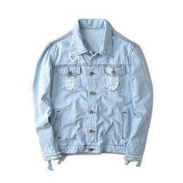 Discount yeezus tour jacket - Fall-424 Kanye West Pablo Denim Jackets Men Hip Hop Yeezus Tour Brand Clothing Streetwear Jeans Jackets I Feel Like Kany