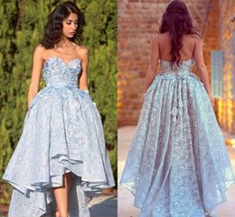 Barato Vestido De Baile Alto Vestido Baixo-2017 Grey Blue Lace Evening Dresses Sweetheart Handmade Flowers Ruched Backless Vestidos de baile Sexy High Low Prom Dresses Arabic Dudai Vestidos