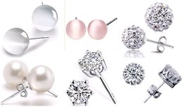 White Stone Ear Studs Canada - 50pcs Mix Natural Stone Pearl Jewelry 925 Sterling Silver Crown Earrings Anti Allergic Ear Stud for Wedding Engagement Gift