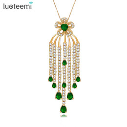 gold micro pendant UK - LUOTEEMI New Charming Long Tassel Pendant Love Necklace Micro Paved CZ Link Chain Lovely Women Jewelry Wedding Collier Bijoux