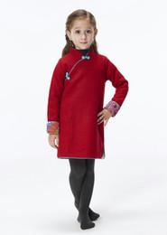 $enCountryForm.capitalKeyWord NZ - Handmade Girls Wool Dress Overcoat Chinese Cheongsam Qipao Kids Clothing #209