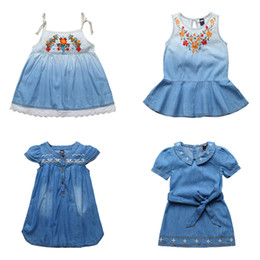 $enCountryForm.capitalKeyWord NZ - Summer Girls Denim Dress Children Short Sleeve Flower Lace Cowboy Casual Suspender Dress Girls tutu Dress Kids Princess Dresses Cotton