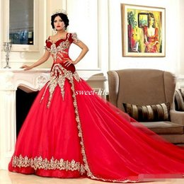 Short couture wedding dreSSeS online shopping - Vintage Arabic Jajja Couture Mermaid Wedding Dresses Red Sheer Bidice Applique Short Sleeves Plus Size India Arabian Bridal Party Gowns