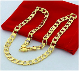 $enCountryForm.capitalKeyWord Canada - 1pcs Hot Silver Men Nice Neck Chains Gold Plated Hip Hop Jewelry 925 silver Necklace 10mm Flat 24 inch Chain