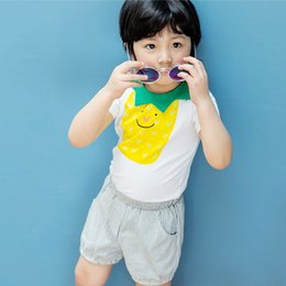 Chemise De Garçon Pas Cher-Vêtements pour bébés coton Casual Boys Ensembles de vêtements Summer pineapple T-shirt + Stripe Shorts 2pcs Costumes Cute Kids Outfits LoungeWear C976