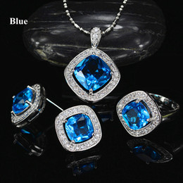 yellow cz earrings Canada - New Fashion Elegant White Gold Plated CZ Earrings Ring Necklace Jewelry Set for Bride 3 in 1 Wedding Necklace Set for Women