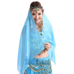 Danza Del Vientre De Gasa Baratos-Al por mayor- Belly Dance Chiffon Coins Face Veil Dancing Head Scarf Shawl Headpiece Disfraces