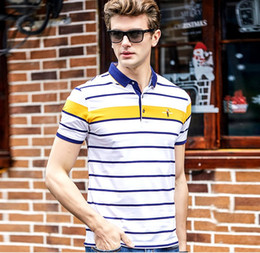 brand mens polo NZ - Mens Polo Shirt Brands 95% Cotton Striped Polo Shirts for Men Short Sleeve Men Brand Short Sleeve Stripe Cotton Polo Shirt