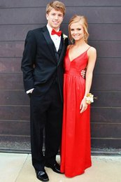 Red Dress V Neck Straps Canada - Red Sexy V-neck Prom Dresses 2019 A Line Spaghetti Straps Floor Length Backless Satin Long Party Dress Plus Size Prom Evening Dresses