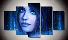 Free Gift Picture NZ - 5p Printed - cortana beautiful girl Painting on canvas room decoration print picture canvas Art Unique gifts - Free shipping