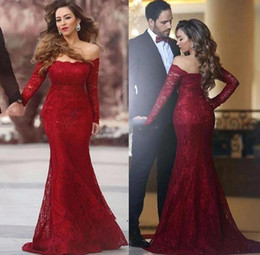 Barato Mangas De Renda Mini Vestido Vermelho-Sexy Red Lace Mermaid Evening Dress robe de soiree Long Sleeves Boat Neck Formal Prom Gowns Party
