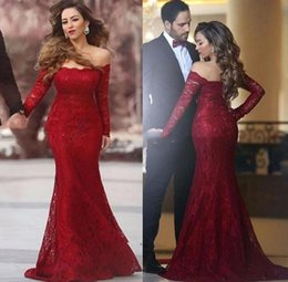Robe De Soirée Pas Cher-Sexy Red Lace Mermaid Robe de soirée robe de soiree Long Sleeves Boat Neck Formal Prom Gowns Party