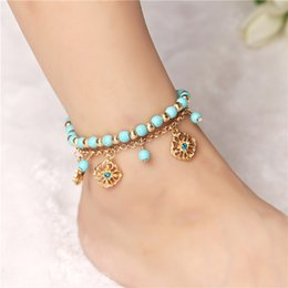 gold feet chain sexy foot NZ - Bohemian Blue Beads Sexy Foot chain Anklets for Women Gold color Chain Barefoot Sandals Foot Jewelry Love Rose Flower Beach Ankle Bracelets