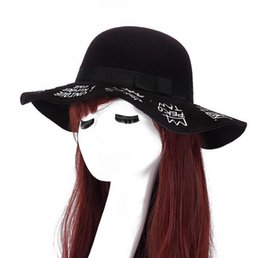Discount gifts british - Best gift Autumn and winter big along the dome hat British imitation wool felt hat ladies wide eaves hot word fashion ce
