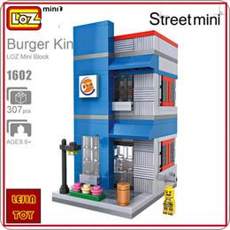 Micro Blocks Canada - LOZ ideas Mini Block Hamburg Shop Burger King Street View Model Building Blocks Toys DIY Children Gift Micro Bircks Store 1602