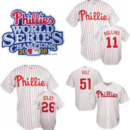 ... Phillies 2008 World Series Champions Jersey 26 Chase Utley 54 Brad  Lidge 8 Shane Victorino 11 ... d0a7733ff9e