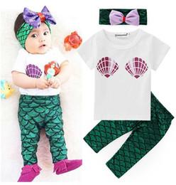 baby short sleeve shirt 2019 - baby girls Mermaid 3pcs clothing set short sleeve T-shirt tops+Mermaid pants+bow headband toddler kids outfits infant su
