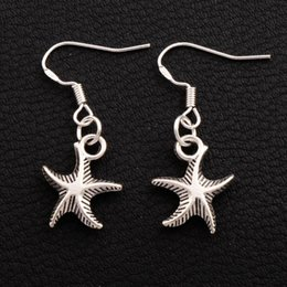 Sea Star Starfish Earrings 925 Silver Fish Ear Hook 30pairs lot Antique Silver Chandelier Jewelry E014 13x34mm from sea earrings manufacturers