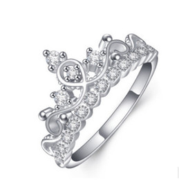 $enCountryForm.capitalKeyWord Canada - New! Real 925 Sterling Silver Ring for Women Silver Wedding Engagement Crown Ring Jewelry N88