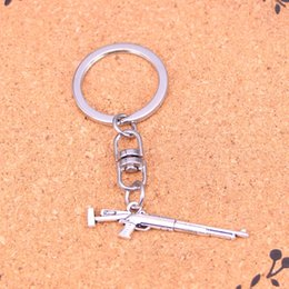 Sniper Pendants Canada - New Fashion sniper rifle gun Keychains Vintage Antique Silver plated Keyholder fashion Solid Pendant Keyring gift