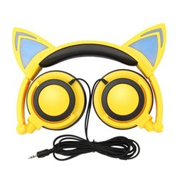 Cute Cat iphone online shopping - Glowing Cute Cat Ear Earphone Foldable Gaming Headset Headphones with LED Light For PC Laptop Mobile Phone Girls Gift