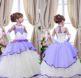 Hand made vest online shopping - Lavender White Little Girl Wear Formal Dresses Kids Lace Sheer Neck Ball Gown Flower Girl Dress