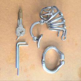 Neue Art und Weise Double Lock Design Edelstahl-Keuschheitsgürtel Keuschheitsgerät Metall Penis Lock-Keuschheitskäfig Ring Geschlecht spielt für Männer im Angebot