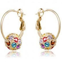 $enCountryForm.capitalKeyWord NZ - Rhinestone Hoop Earrings for Women DHL Cherry Bblossom Crystal Ball Earrings for Lady Xmas Gift Fashion Jewelry