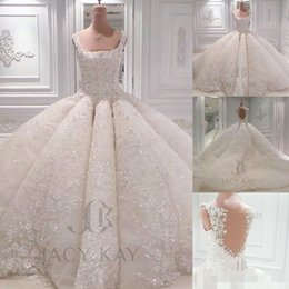 Luxury Ball Gown Wedding Dresses 2016 Vintage Lace Sequins Square Neck Sheer Back Big Puffy Handmade Flowers Custom Made Bridal Gowns
