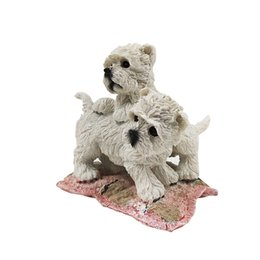 """Cute Resins Figures Canada - Two Cute West Highland White Terrier Siting on Carpet 4.6"""" Hand Carved Resin Material Dog Figure for Table Decor"""