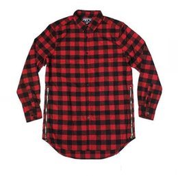 red extended t shirts Canada - High quality Man Women Two Side Extended Zipper Shirt T Shirt Hip Hop Street wear Plaid Casual Shirt