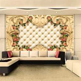 Large 3d Wallpaper Mural Custom Continental Border Luxury Soft Bags Rose Background Wall Fresco