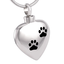 $enCountryForm.capitalKeyWord Canada - IJD8382 Stainless Steel Heart Cremation Jewelry Double Pet Dog Paw Prints Urn Pendant Keepsake Cremation Ashes Necklace