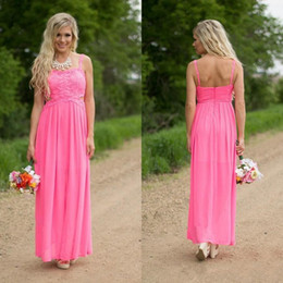 side cutting dress Canada - Hot Pink Lace And Chiffon Country Bridesmaid Dresses Long 2017 Cheap Spaghetti Cut Out Side Maid Of Honor Gowns Custom Made China EN6276