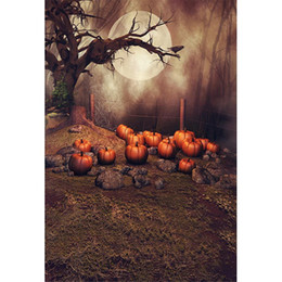 Chinese  Old Tree Full Moon Night Happy Halloween Photography Backdrops for Children Spider Web Pumpkins Kids Studio Photo Shoot Background manufacturers