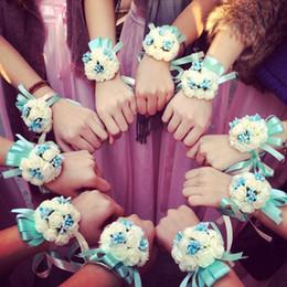 Hand Flowers Bride Bridesmaids Wrist Canada - Creative Wrist Flower Bridesmaid Sisters hand flowers Artificial Bride Flowers Wedding Decoration Flower