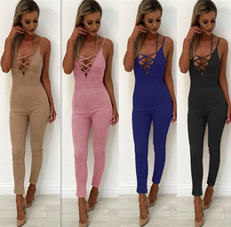 $enCountryForm.capitalKeyWord NZ - V-Neck Spaghetti Strap Skinny Summer Jumpsuit Women Lace Up Sleeveless Bandage Sexy Women Rompers Casual Jumpsuits for Women