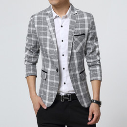 $enCountryForm.capitalKeyWord Canada - M-3XL 2016 Spring Plaid blazer men Cotton unique mens blazers mens blazer jacket slim fit jaqueta men suit for men Coats Casual