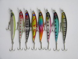 Hard Bait Minnow Crankbait Canada - 8pcs lot Laser Minnow Fishing Lure 8.5CM-7.2G pesca hooks fish wobbler tackle crankbait artificial japan hard bait swimbait