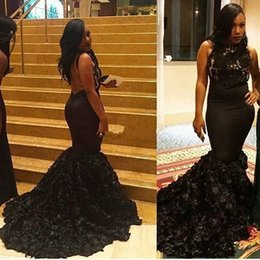 Barato Backless Top Laço Preto-New Sexy Black Girls Lace Top Sereia Vestidos Halter Neck Backless Tribunal Trem Tiered Saias Custom Made 2K17 Prom Vestidos