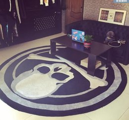 Acrylic Skull Round Carpet Trend Personality Black And White Living Room Sofa Bed Bedroom Fashion Custom Rug Fitting Mat