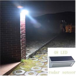 super quality solar wall lights outdoor aluminium alloy 48 led microwave radar sensor waterproof energy saving lamp lamps for garden