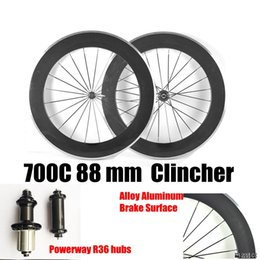 alloy r36 NZ - Catazer 700C 88MM Alloy Aluminum Brake Surface Full Carbon Bike Wheels Clincher With powerway R36 Hubs Bicycle Wheels