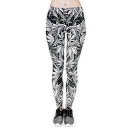 Leggings Aux Imprimés Gris Pas Cher-Leggings Femmes Grey Lucky Leaf 3D Graphic Print Filles Skinny Stretchy Yoga Wear Pants Lady Gym Fitness Pencil Fit Workout Trousers (J31764)