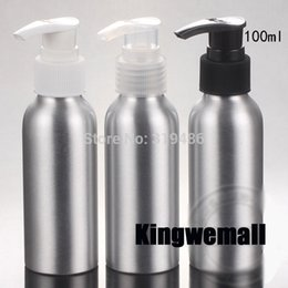 $enCountryForm.capitalKeyWord Canada - 300pcs lot Cosmetic Packaging 100ml Aluminum Lotion bottle, Metal Container Press Pump, DIY Liquid Storage Tool