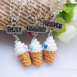 $enCountryForm.capitalKeyWord Canada - 3D BFF Best Friends Forever Resin Heart Ice Cream Pendant Necklace for Women Kids Jewelry 3 set